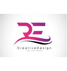 Re r e letter logo design creative icon modern vector