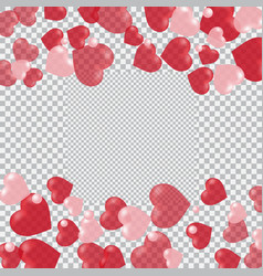 Red and pink hearts translucent located on the vector