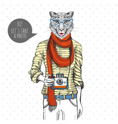 Retro hipster animal cheetah with photo camera vector