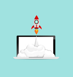 rocket startup launch from laptop business concept vector image