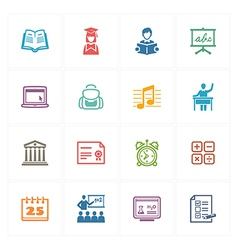 School and Education Icons Set 2 - Colored Series vector image