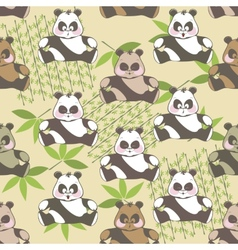 Seamless background of funny Panda vector