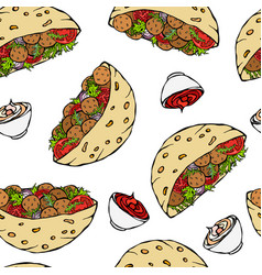seamless endless pattern with falafel pita or vector image