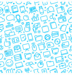 seamless pattern different web icons vector image