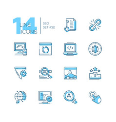 Seo - set of line design style icons vector