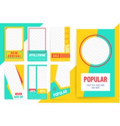 set 7 bright editable template for stories and vector image