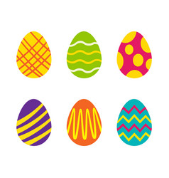 set easter eggs with different texture on a vector image