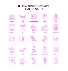 Set of 25 feminish halloween flat color pink icon vector