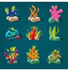 Set of Cartoon Algae Elements for Aquarium vector