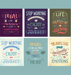 Set of travel posters hand drawn vector