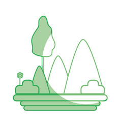 Silhouette mountains with plants with flowers and vector