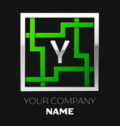 silver letter y logo symbol in the square maze vector image