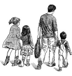 Sketch a father with his kids going on a stroll vector