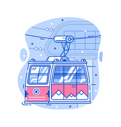 Ski red cable car icon vector