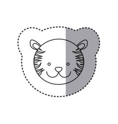 sticker of grayscale contour with face of tiger vector image
