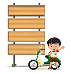 Thai boy and motorcycle by the roadsigns vector