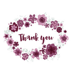 thank you editable floral wreath on white vector image
