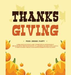 Thanksgiving poster style design art vector