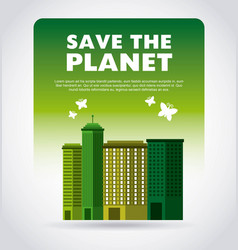 think green with cityscape background vector image