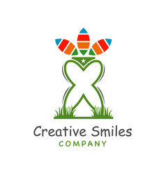 tooth logo design on grass vector image