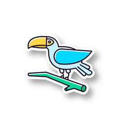 Toucan patch rgb color printable sticker exotic vector