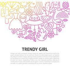 trendy girl line concept vector image