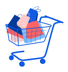 trolley with purchase buy paper bags summer sale vector image