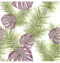 tropical seamless pattern with leaves vector image