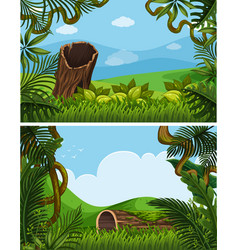 two background scenes with plants on the hills vector image