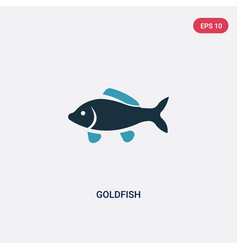 Two color goldfish icon from animals concept vector