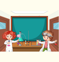 Two science students working in lab at school vector