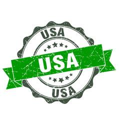 Usa round ribbon seal vector