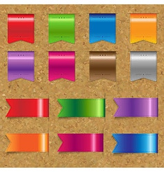 Web Color Ribbons Big Set With Cork vector image