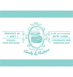Wedding Vintage Invitation - Macaroon Theme vector image