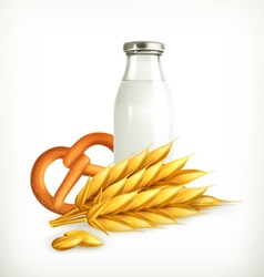 Wheat milk and bread isolated vector