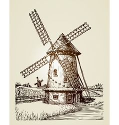 Windmill mill or bakery Vintage hand drawn vector