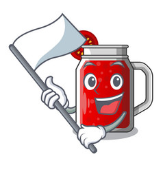with flag fresh tomato juice isolated on mascot vector image