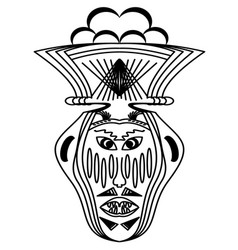 ritual face monochrome drawing horrible face with vector image