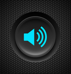 black and blue sound button on carbon background vector image vector image