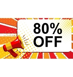 Megaphone with 80 PERCENT OFF announcement Flat vector image