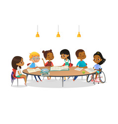 smiling disabled girl in wheelchair and her school vector image vector image