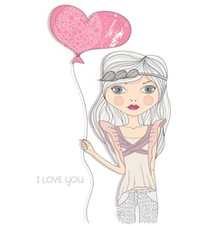 valentines day card fashion girl with heart baloon vector image