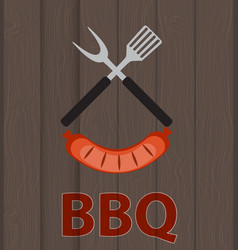 bbq icon with grill tools and sausage on wooden vector image vector image