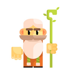 cartoon bearded gnome with a staff in his hands vector image vector image