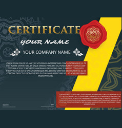 certificate template with luxury patterndiploma vector image vector image