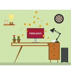 freelance job with monitor text gold coin money vector image