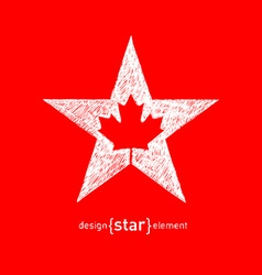 Hand draw canadian maple leaf in star vector