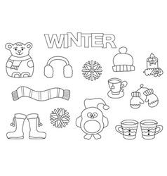 hand drawn winter set coloring book template vector image vector image