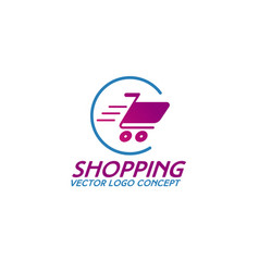 on line shopping logo consisting of shopping cart vector image vector image