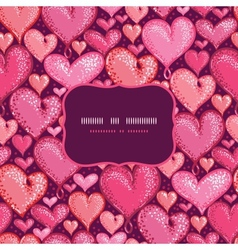 Red Valentines Day Hearts Frame Seamless Pattern vector image
